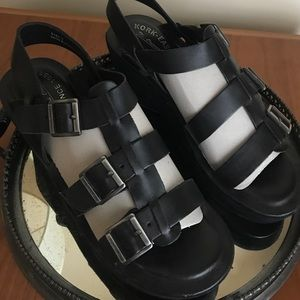 EUC 9.0 40.5 KORK-EASE Sandals Leather Shoes Black